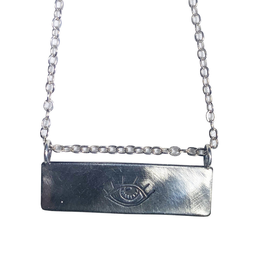 Sterling Silver Evil Eye Drishti Bar Necklace