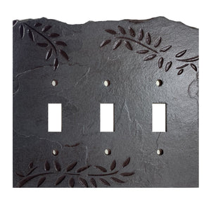 Fern Ebony Antiqued Stone Switch Plate
