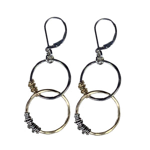 Spiral Reflection Earrings in Textured Silver and 14kt Goldfill