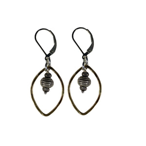 Hammered 14k Goldfill Open Leaf with Sterling Bead Drop Earrings
