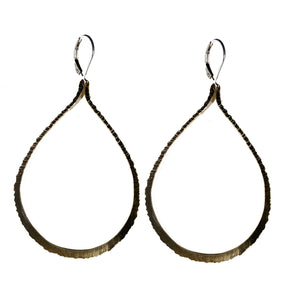 Large Etched Goldfill Teardrop Earrings