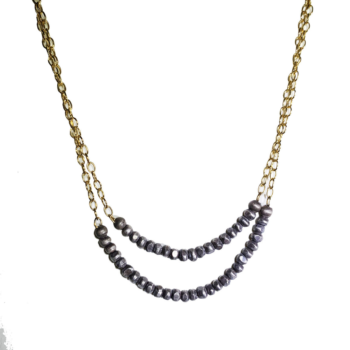 Sterling Beaded Strands With 14k Goldfilled Chain