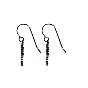 Oxidized Sterling Bead With Gold Vermeil Earrings