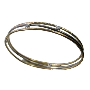 14kt Hammered Sterling Bangle With 2mm White CZ