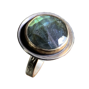 Faceted Labradorite Sundial Ring