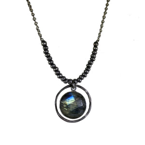 Labradorite Pendant with  Sterling Ring and Beads.