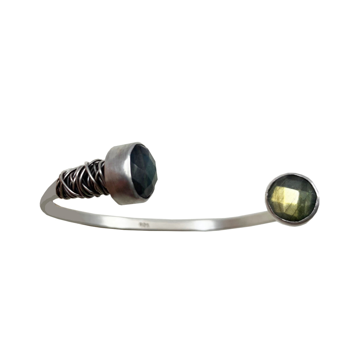 Bangle with Faceted Labradorite Caps