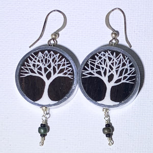 Large Painted Tree Earrings