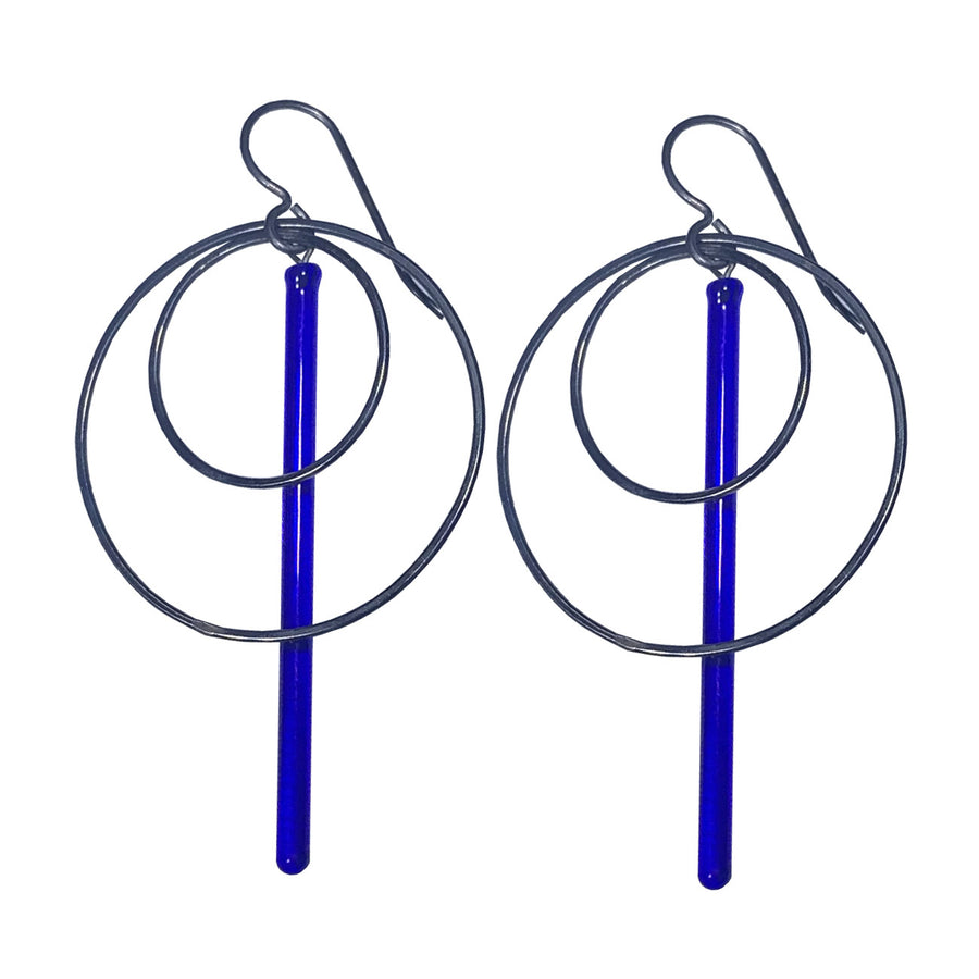 Large Blue Pendulum Hoops Earrings