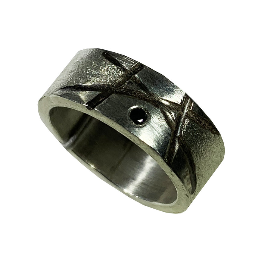 Oxidized Sterling Line Band With 2mm Black Diamond Ring