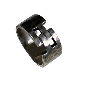 Hammered Sterling Hinge Ring
