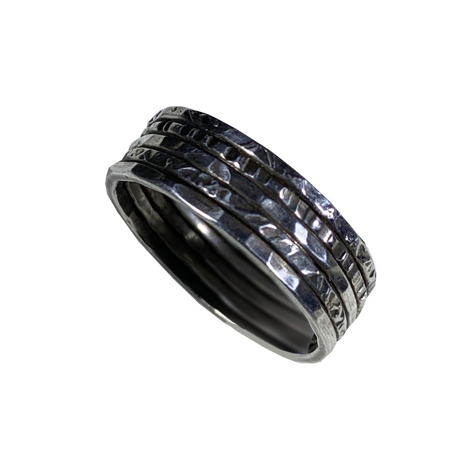 Hammered and Etched Oxidized Medium Width Sterling Band