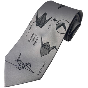 Necktie- Origami dark grey on silver microfiber