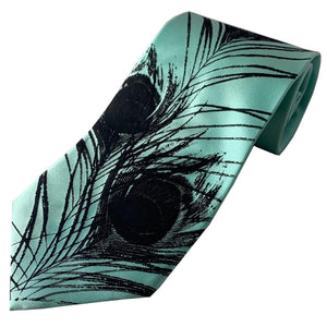 Necktie- Peacock black on aqua silk