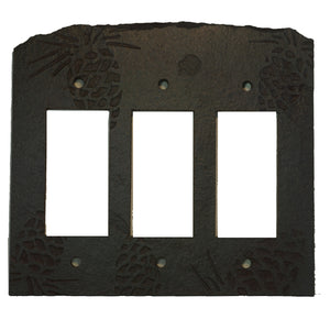 Pine Cone Ebony Antiqued Stone Switch Plate