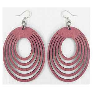 Wine Wooden Oval Earrings