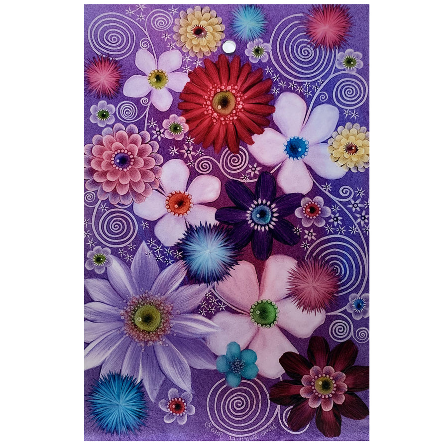 "Purple Floral 9"" x 6"" Window Hanging"