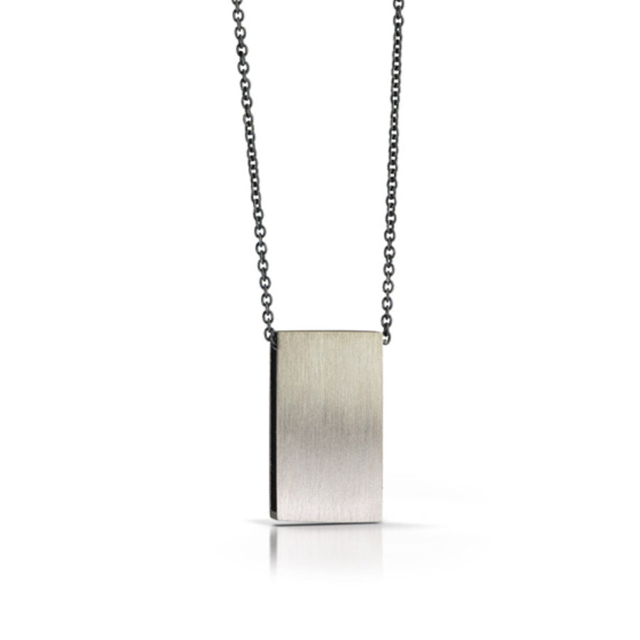 Sterling Rectangle pendant with Shadow Finish