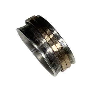 Hammered sterling band with 14kt goldfilled ring