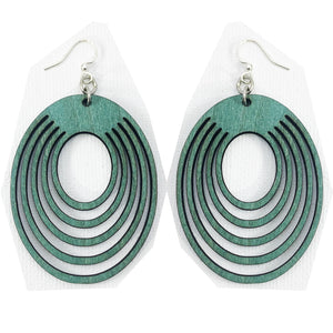 Teal Oval Wooden Earrings