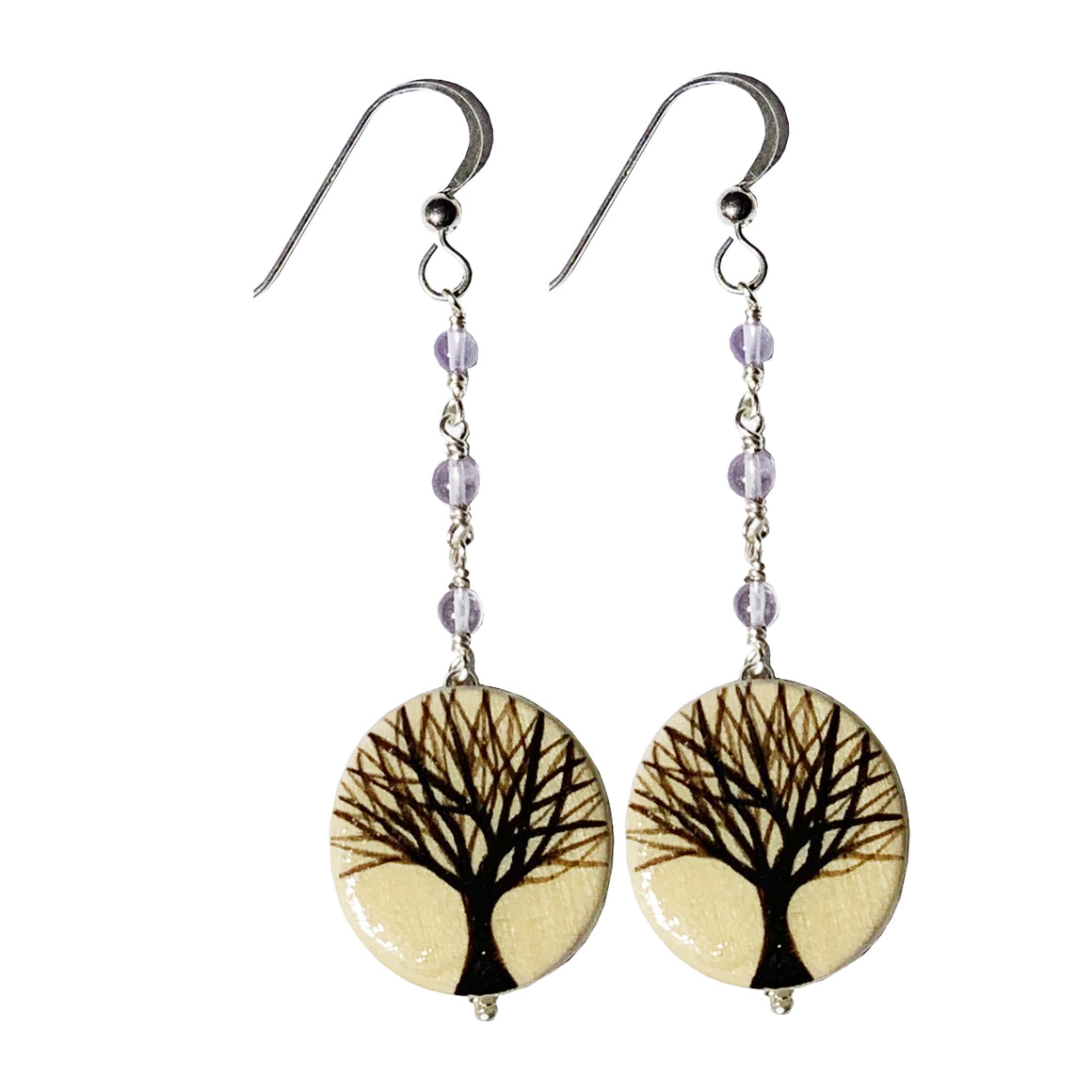 Hand Painted Trees Earrings