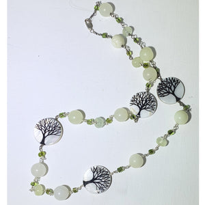 Painted Tree on Shell With Amazonite Beads