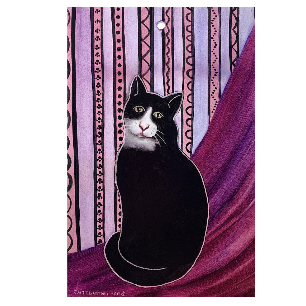 "Tuxedo Cat 9"" x 6"" Window Hanging"