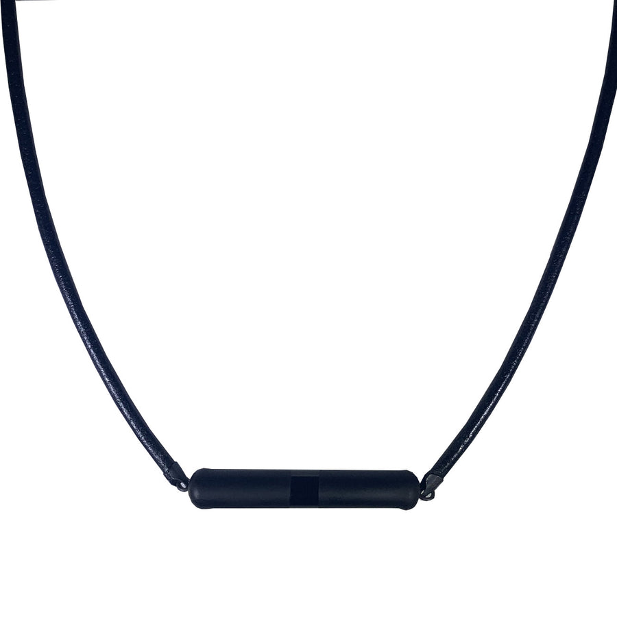 Two Toned Black Glass Necklace with Leather Cord