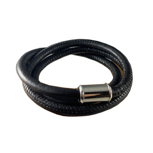 Leather Unisex Wrap Bracelet- Black
