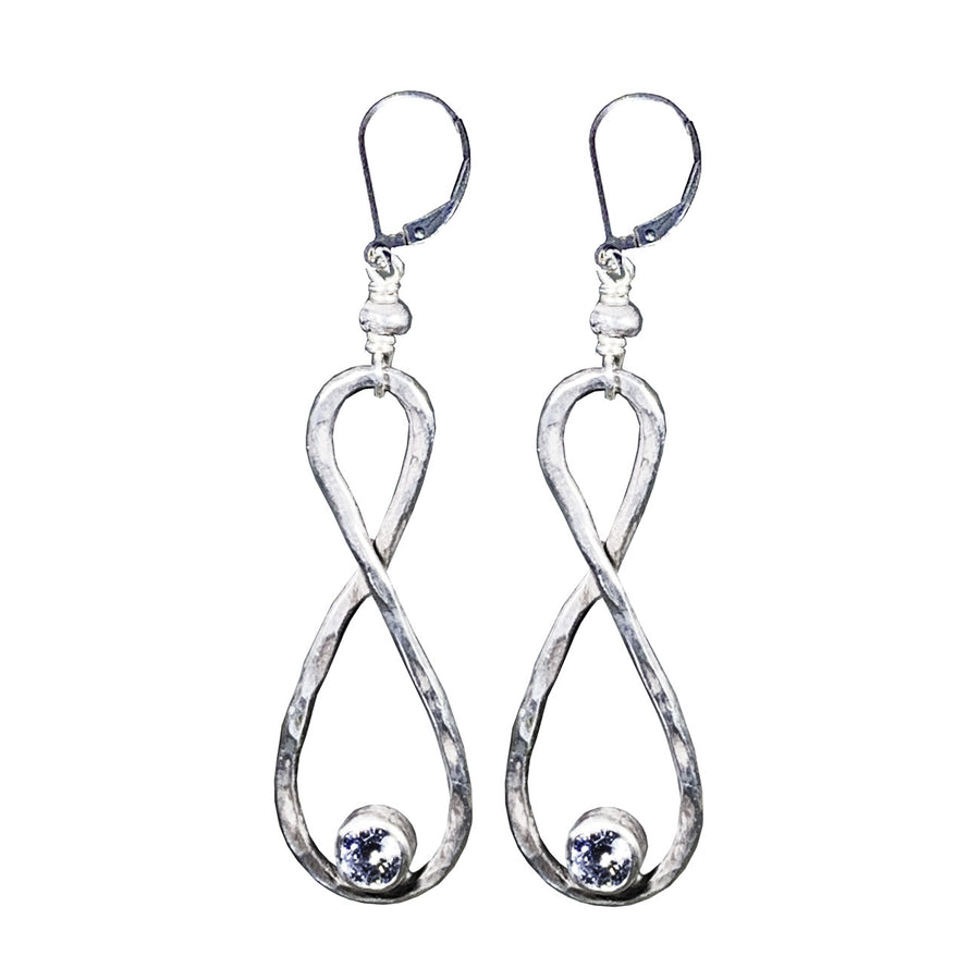Hammered Stering Infinity Earrings with 4mm CZ