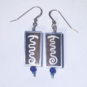 White Symbol on Ebony Rectangle Earrings