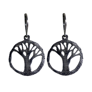 Sterling Oak Tree Cutout Earrings