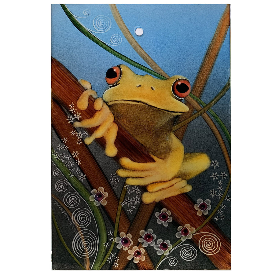 "Yellow Frog 6"" x 9"" Window Hanging"