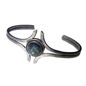 Sterling Flared Bezel Set Labradorite Cuff