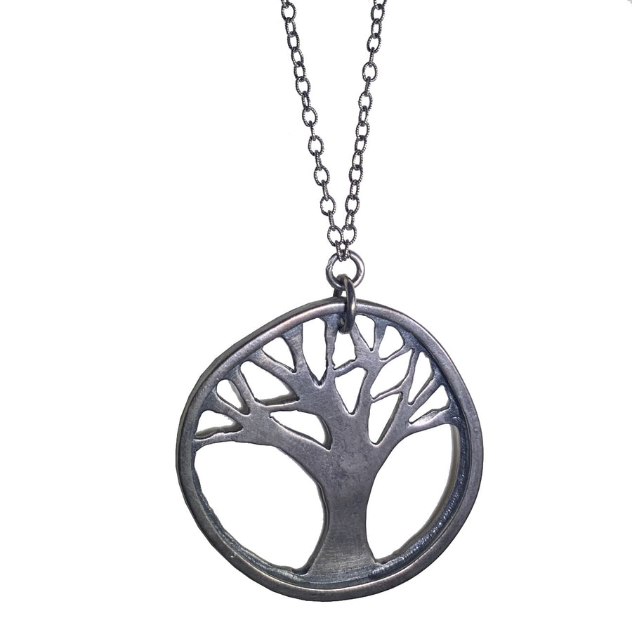 Large Sterling Cutout Oak Tree Necklace