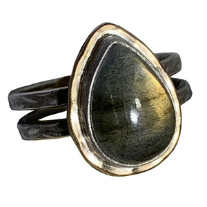 Labradorite Teardrop Double Band Ring