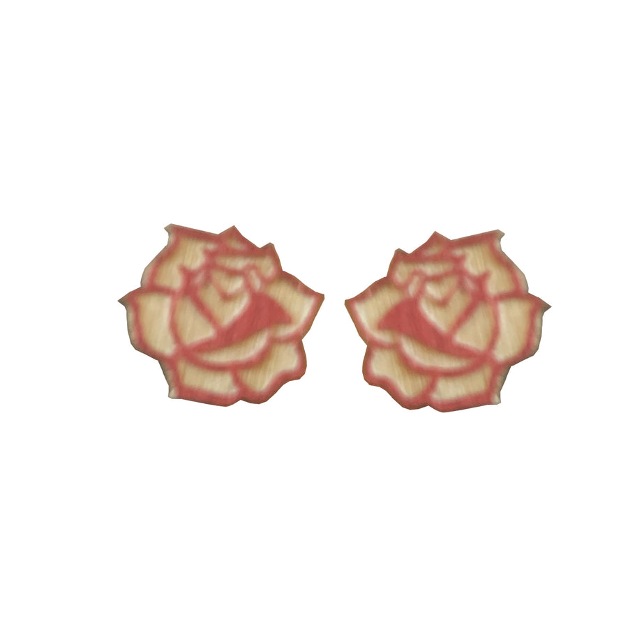 Wooden Rose Studs