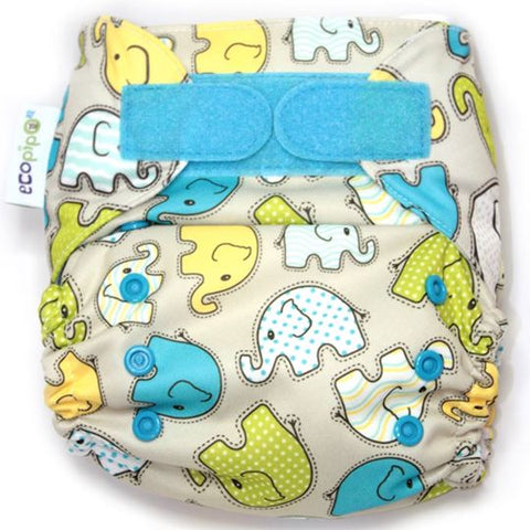 Ecopipo Onesize Pocket Nappy Blue Elephants