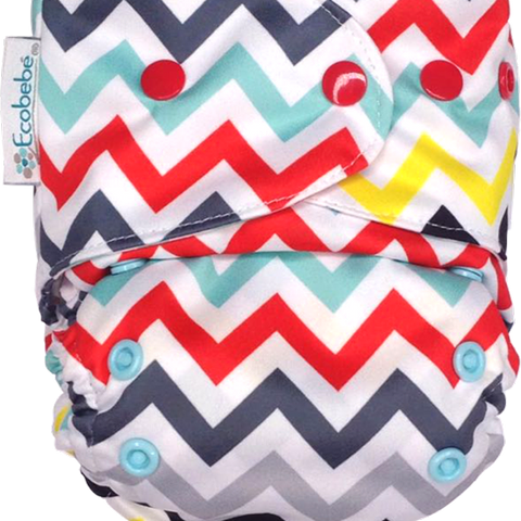 Ecobebe Onesize All in 2 Nappy System Chevron print