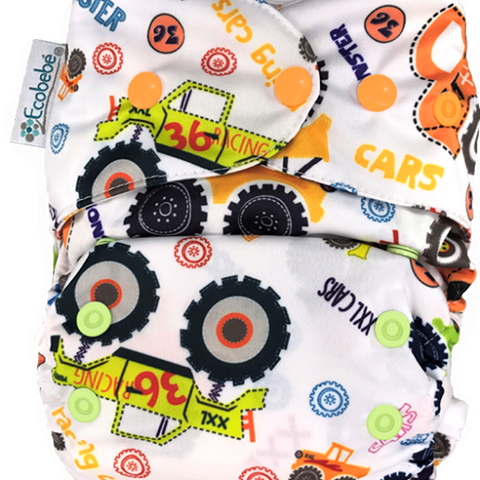 Ecobebe Onesize All in 2 Nappy System Trucks print