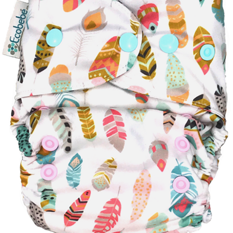 Ecobebe Onesize All in 2 Nappy System Feathers print