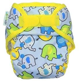 Ecopipo Onesize Hook and Loop PUL Nappy Wrap Blue Elephants