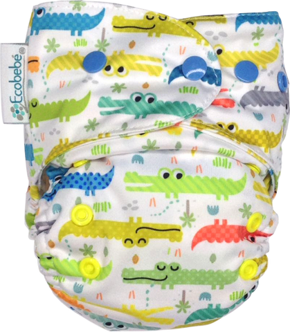 Ecobebé One size All in 2 Nappy System Alligators Print