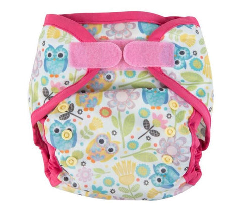 Ecopipo Onesize Hook and Loop PUL Nappy Wrap Pink Owls