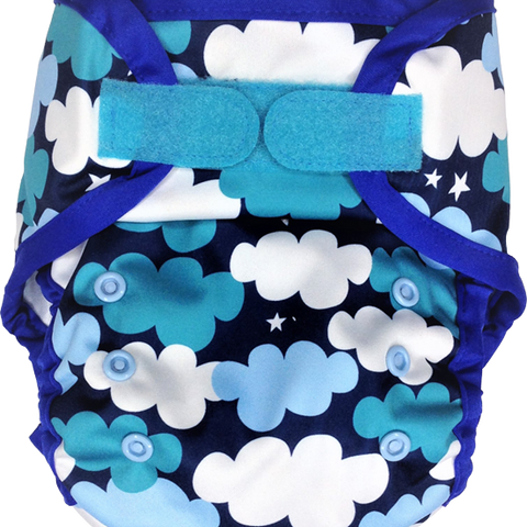 Ecopipo Onesize Hook and Loop PUL Nappy Wrap Clouds print