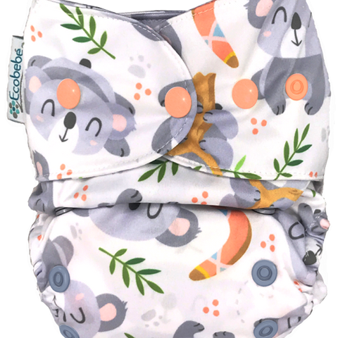 Ecobebe Onesize All in 2 Nappy System Koalas print