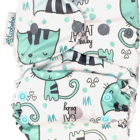 Ecobebe Onesize All in 2 Nappy System Kittens print