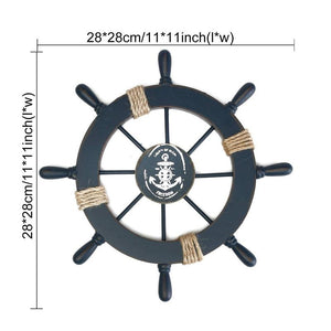 Mediterranean Nautical Wooden Boat Ship Wheel Helm Home Wall Party Decoration Dark Blue