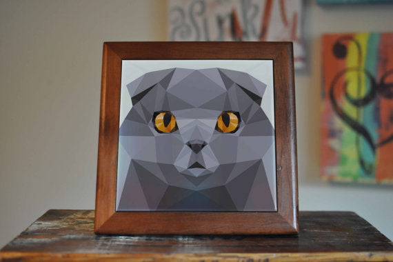 Scottish Fold Ceramic Tile Coaster Set Artwork