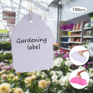 100Pcs Plants Hang Tag Labels Seedling Garden Flower Pot Plastic Tags Number Plate Hanging Reusable PVC Garden Tools 3.6*2.5CM